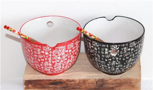 02 Reisschale Set Reis Sushi Schale Keramik rot schwarz Essstäbchen Matcha