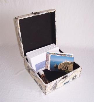 510 Massivholz Box Leinenoptik Schatzkiste Holzkiste Holzbox Truhe 26x26x12 cm