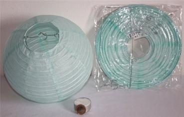 505, Lampion 5Stk.Papier Hell Blau Rund Ca.20 Cm Ø China Lampe