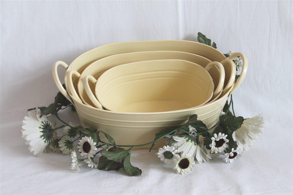 Pflanzschale 01 Pflanzgefäß 3er Set beige Blech Metall Blumentopf